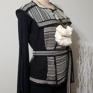 H & M Tribal Black White Woven Belted Vest 8 M
